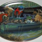Cat Plate Kitty Catfish Creek Boat Fishing Franklin Mint Retired Collectors