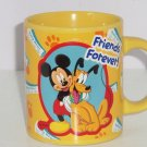 Disney Mickey Pluto Friends Forever Ceramic Yellow Coffee Mug Cup Daily News