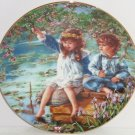 Patience Fishing Boy Girl Collector Plate Reco International Vintage 1991