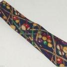 Pool Billiards Ball Cue Stick Mens Neck Tie Necktie Lands End Blue 100% Silk USA
