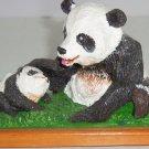 Panda Bear Figurine Baby Mama Wood Base