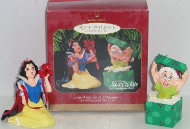 2 Disney Snow White Dopey Hallmark Ornament Anniverary Edition 1997 Dwarf MIB