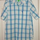 Abercrombie Fitch Muscle Shirt Blue White Plaid Size Med