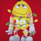 M&M M&M's Christmas T-shirt Yellow Gal Lights Tee Red  Mens Ladies Size Med