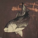 Guy Harvey Fishing T-Shirt Redfish Fish Tee Brown Copper Boat Bluewater Size L