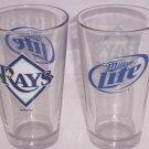 2 Tampa Bay Rays Glasses Miller Lite Baseball Drinking Beer Glass 2011 MLP