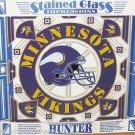 Minnesota Vikings Stained Glass NFL Football Hunter Framed Wall Window Decor