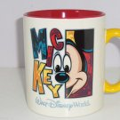 Walt Disney World Mickey Mouse Coffee Mug Giant Red Yellow Ceramic Cup Retired