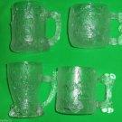 4 Flintstones McDonalds Glass Mugs 1993 Vintage Fast Food Stone Age Cups