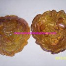 2 Indiana Loganberry Amber Carnival Glass  Dish Bonbon Berries  Leaves Vintage