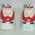 Coke Polar Bear Coca Cola Salt  & Pepper Shakers Downhill Sledding Ceramic