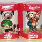 2 Disney Mickey Mouse Minnie Ornament Energizer European Glass Mouth Blown Xmas