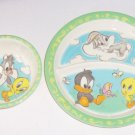 Baby Bugs Bunny Tweety Bird Kids Dinner Plate Bowl Melmac Looney Tunes
