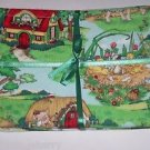 3 Mother Goose Pigs Bears Burp Cloths Baby Terry Cloth Cotton Fabric Shower Gift
