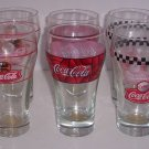 6 Coke Coca Cola Drinking Glass 3 Different Glass Soda Pop Collectible Vintage