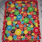 M&M M&Ms Fleece Blanket Candy Blue Red Yellow Green Hand Tied  Baby Pet Lap Gift