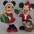 2 Walt Disney Ornament Company Mickey & Minnie Mouse  Christmas Holiday