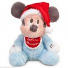 Disney Theme Parks Mickey Mouse Baby's First Christmas Plush Blue