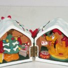 Disney Pluto Dog House Figurine Christmas Tree Presents Fireplace Lights Snow