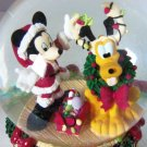 Disney Mickey Mouse Pluto Musical Snowglobe Christmas Holiday Deck the Halls