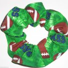 Hair Scrunchie Footballs Green Fabric Scrunchies Ties Pony Tail Holder