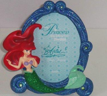 Disney Princess Ariel Mermaid Photo Frame Blue Green Glitter Theme Parks