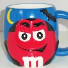 M&M M&M's Coffee Mug Candy Red Guy Blue Ceramic Halloween Bat Galerie Retired