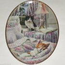 Cat Kitty Collector Plate Black Gold Sleeping Floral Shabby Bradford Exchange