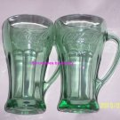 2 Coke Coca Cola Glass Green Collectors Steins Glasses Great Gift