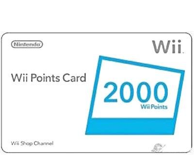 Nintendo Wii 2000 points card