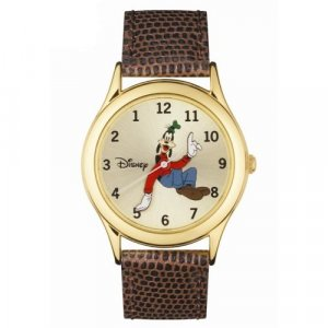 Disney Men's Backwards Goofy Motion Tooled Hands Leather Strap Analog Watch