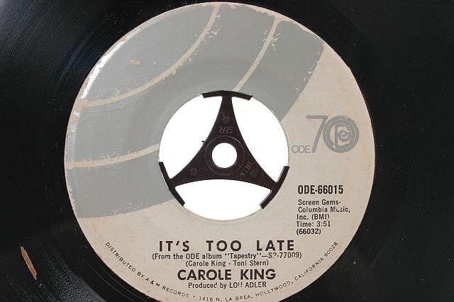 "CAROLE KING I Feel The Earth Move 7"" ODE 45 RPM"