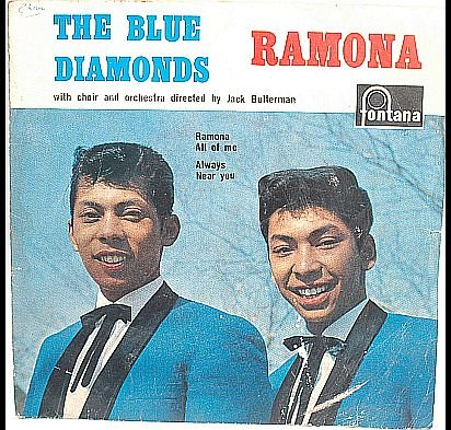 "BLUE DIAMONDS Ramona 7"" EP FONTANA 60s Asian Duo"