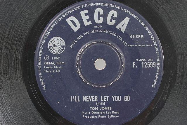 """TOM JONES I'll Never Let You Go HONG KONG 7"""" Decca"""