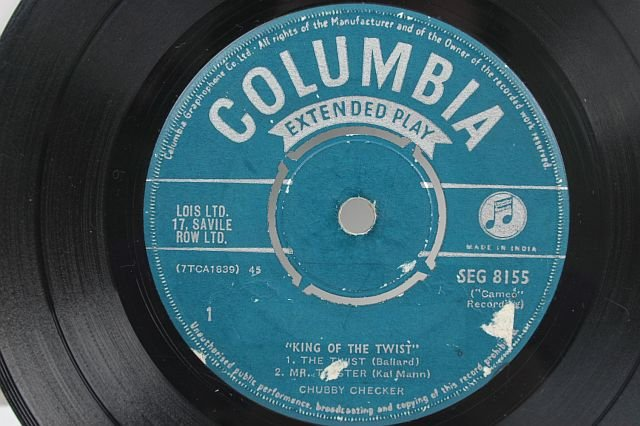 "CHUBBY CHECKER king Of The Twist 7"" SP India Columbia"