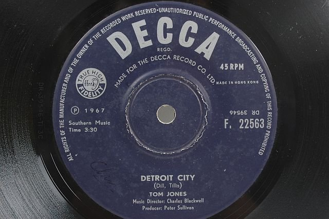 "TOM JONES Detroit City HONG KONG 1967 7"" SP Decca"