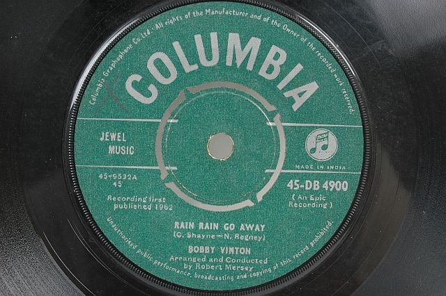 "BOBBY VINTON Rain Go Away 1962 7"" SP 45 RPM India"