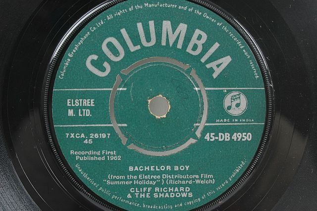 "CLIFF RICHARD & THE SHADOWS Bachelor Boy 7"" SP India"