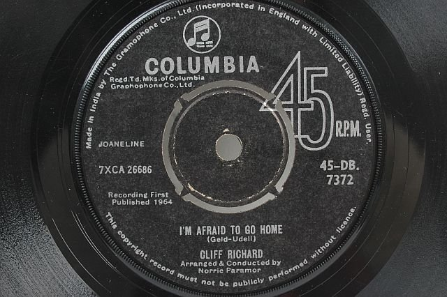 "CLIFF RICHARD Afraid To Go Home 7"" SP COLUMBIA India"
