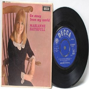 "MARIANNE FAITHFULL Go Away From My Wold ENGLAND 7"" 45 RPM PS EP Decca"
