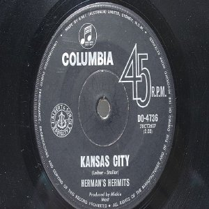 "HERMAN'S HERMITS Kansas City COLUMBIA AUSTRALIA  7"" 45 RPM"