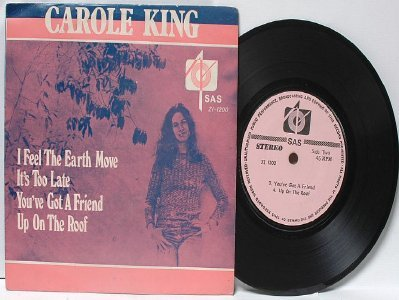 "CAROLE KING I Feel The Earth Move SAS    ASIA Malaysia 7"" 45 RPM PS EP"