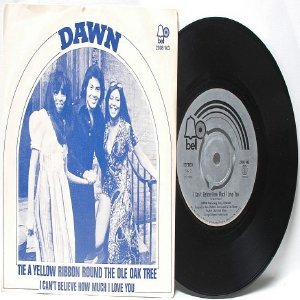 "DAWN Tie Yellow Ribbon INTERNATIONAL BELL  7"" 45 RPM PS"