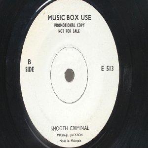 "Rare MICHAEL JACKSON Smooth Criminal / Liberian Girl  MALAYSIA Jukebox Promo WHITE LABEL 7 "" 45 RPM"