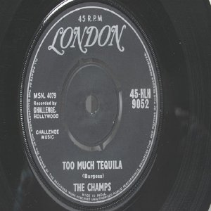 "THE CHAMPS Too Much Tequila OBSCURE BAND  ASIA  India 7"" 45 RPM"
