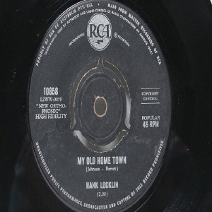 "HANK LOCKLIN My Old Home Town  Australia AUSSIE Oz 7"" 45 RPM"