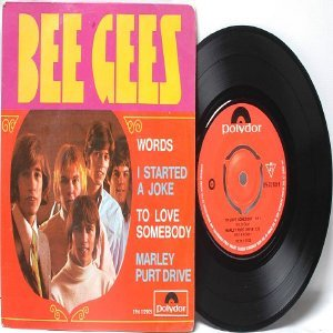 "BEE GEES Words INTERNATIONAL Polydor 7"" 45 RPM PS"