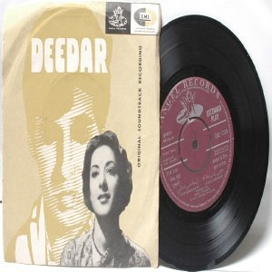 "BOLLYWOOD INDIAN  Deedar NAUSHAD Mohd. Rafi 7"" 45 RPM Angel EP 1966"