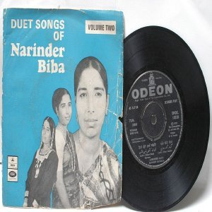 "PUNJABI  INDIAN  Duet Songs of NARINDER BIBA 7"" 45 RPM EMI Odeon EP 1973"