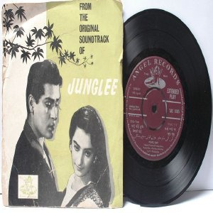 "BOLLYWOOD INDIAN  Junglee  SHANKAR JAIKISHAN Lata Mangeshkar 7"" 45 RPM EMI Angel EP"